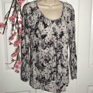 Daisy Fuentes Abstract Floral Long Sleeve Top
